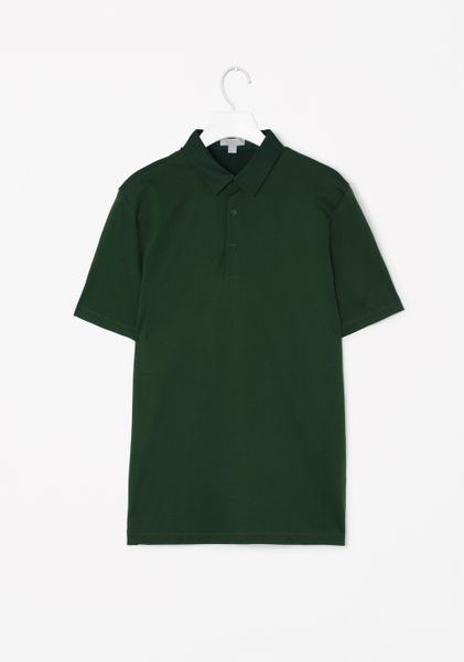 Cos Poplin Collar Polo Shirt In Green For Men Forest