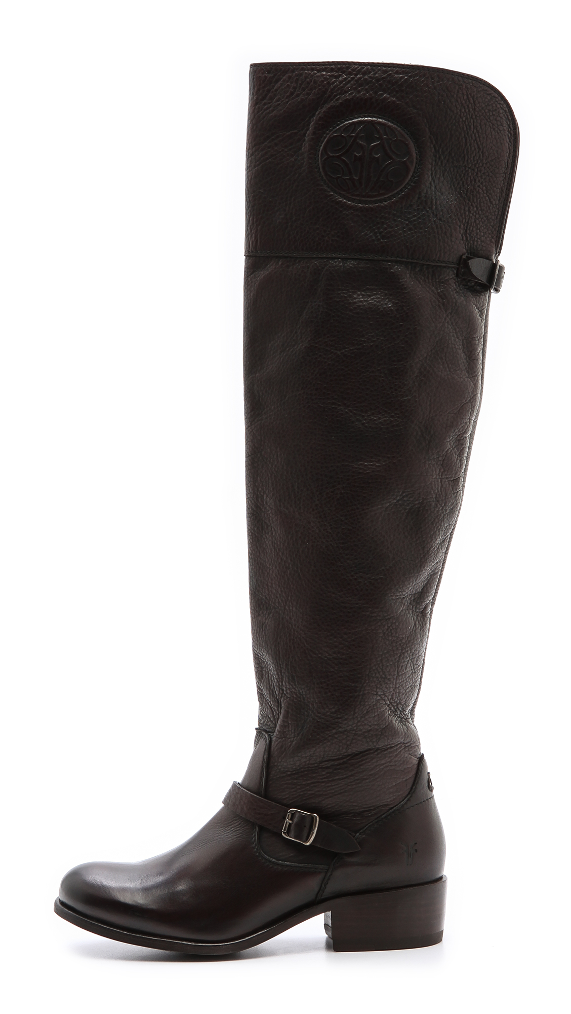 Frye Lynn Logo Over The Knee Boots In Black Lyst
