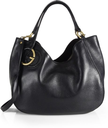 Gucci Twill Black Leather Shoulder Bag 118