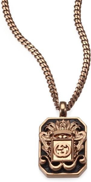 Gucci Vintage Crest Necklace In Gold For Men Lyst