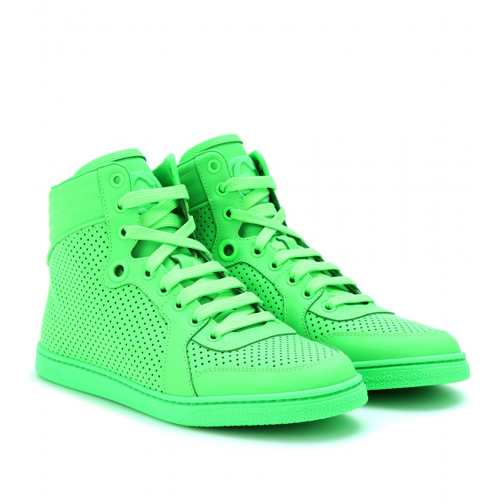 gucci neon leather high top sneakers in green lyst. Black Bedroom Furniture Sets. Home Design Ideas
