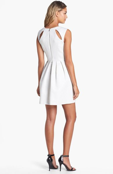 Guess Cutout Back Jacquard Fit Flare Dress In White Lyst