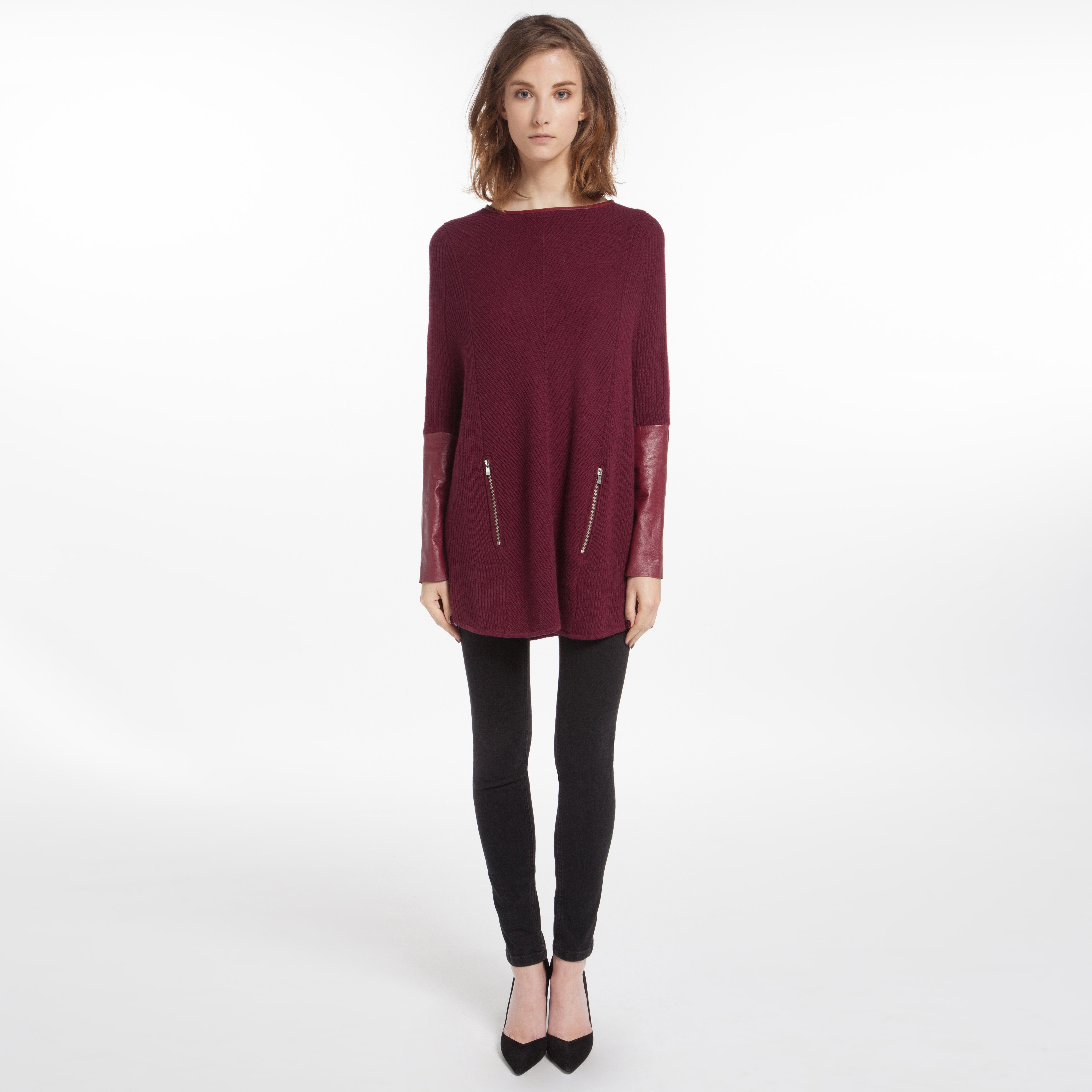 Maje Duel Poncho Sweater in Red