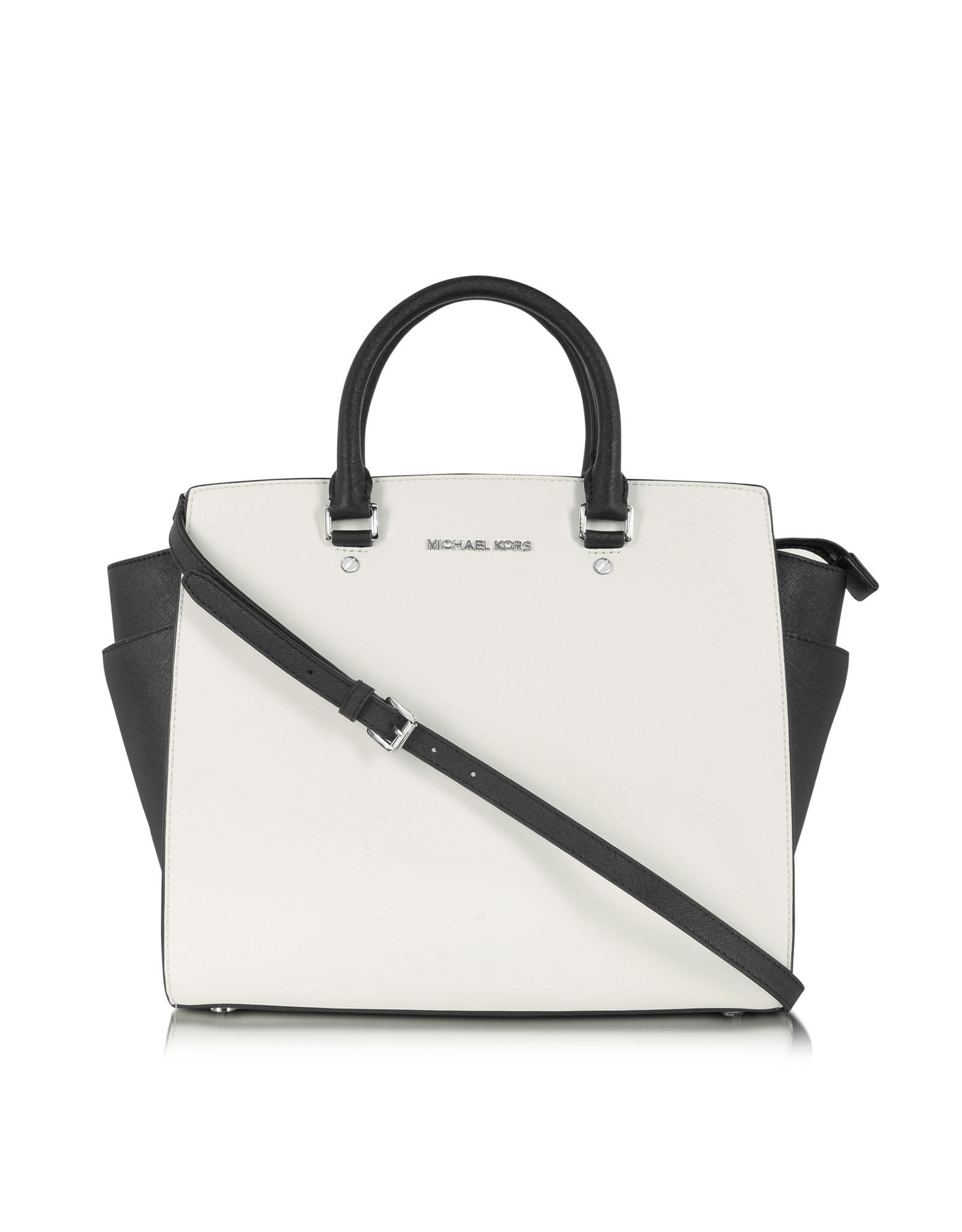 640b0a36607a5 Michael Kors Color Block Large Selma Saffiano Leather Tote in White ...