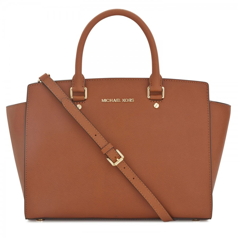 michael kors selma saffiano leather tote in brown tan lyst. Black Bedroom Furniture Sets. Home Design Ideas
