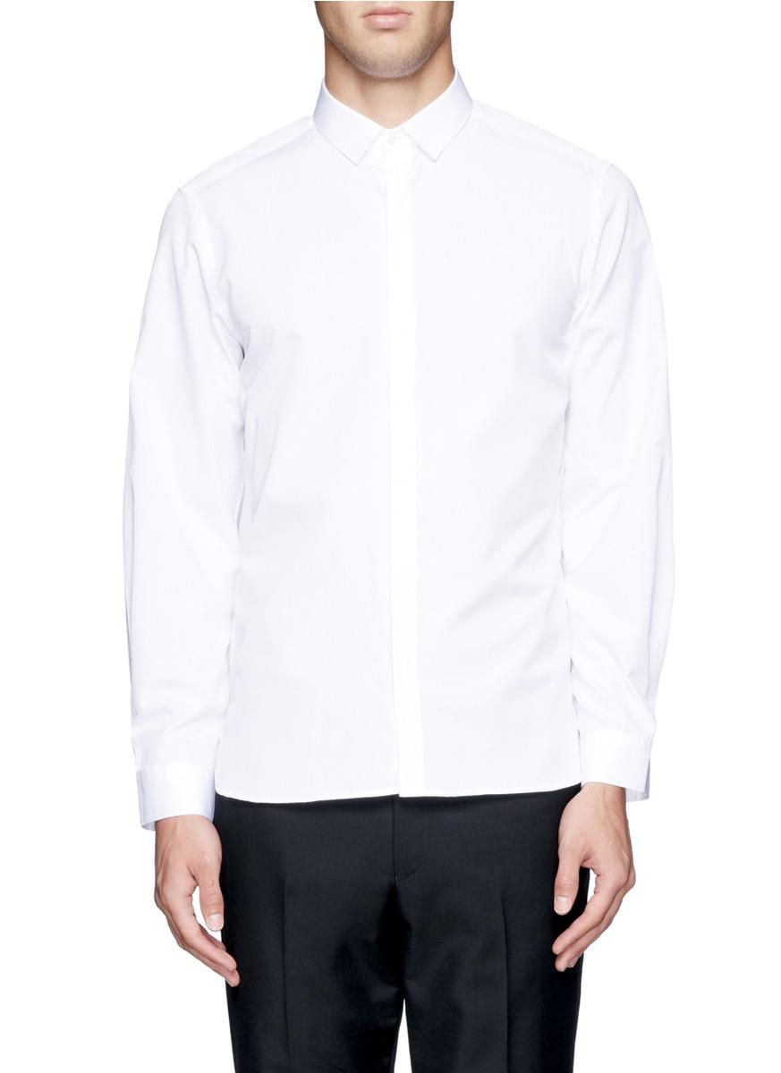 Neil barrett back spine print shirt in white for men lyst for Neil barrett tuxedo shirt