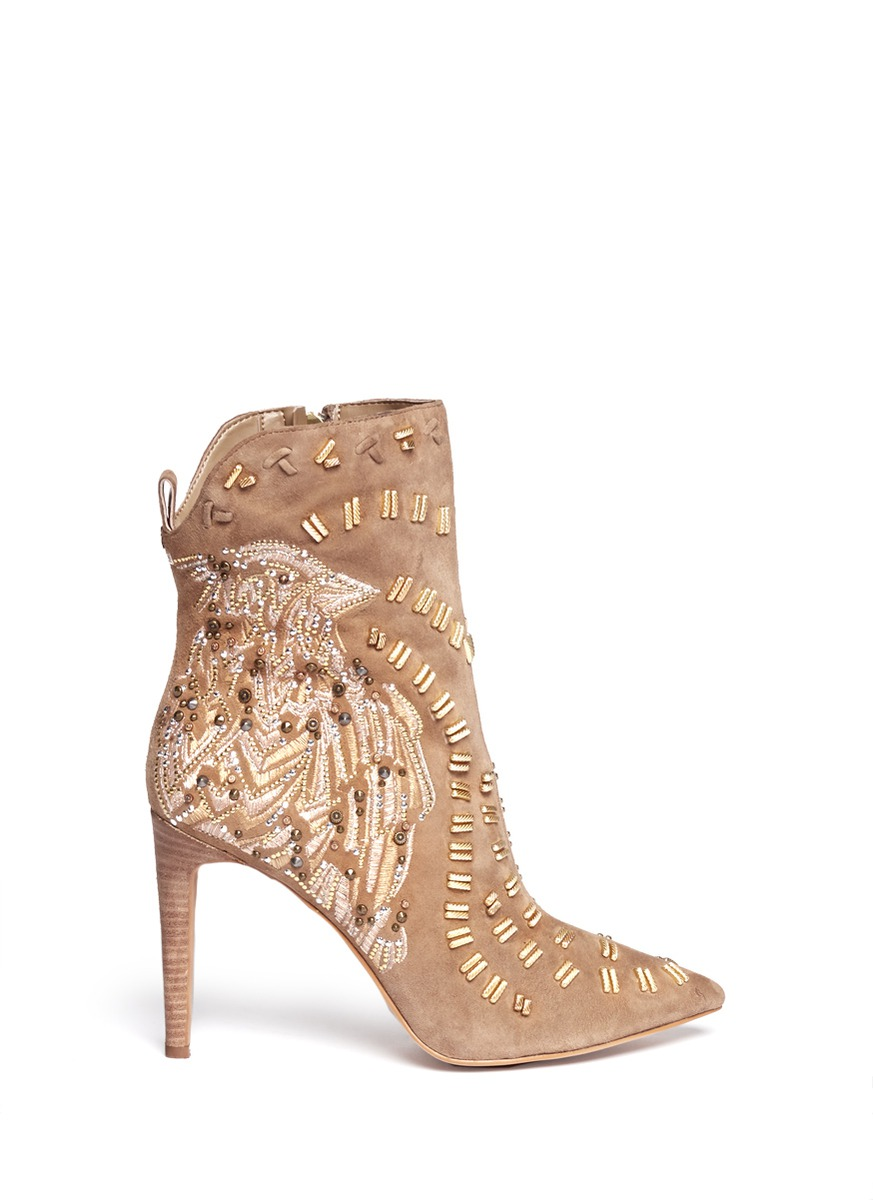 Sam Edelman Melina Suede Booties In Beige Neutral And