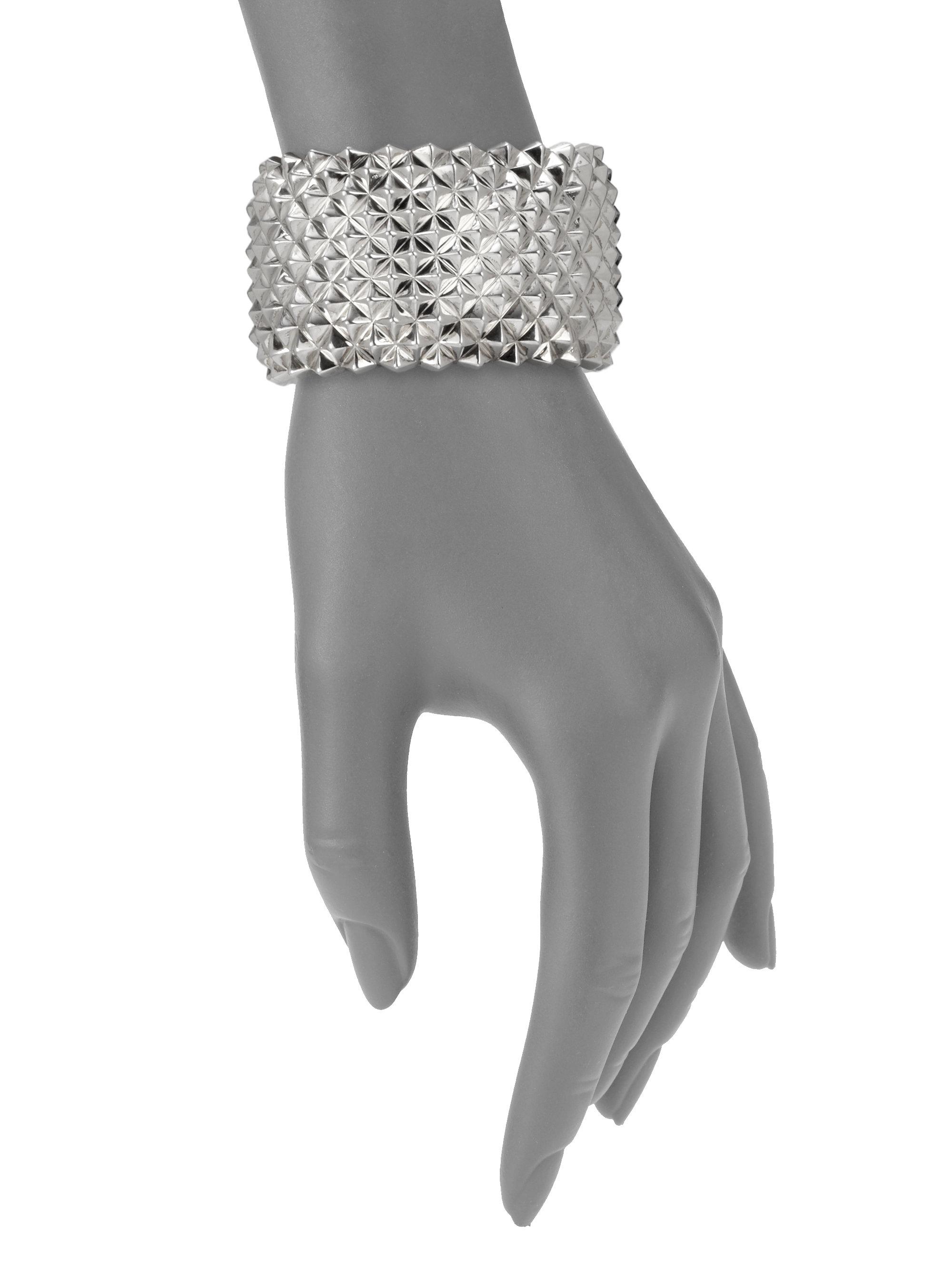 Sterling Silver Studded Wide Cuff Bracelet