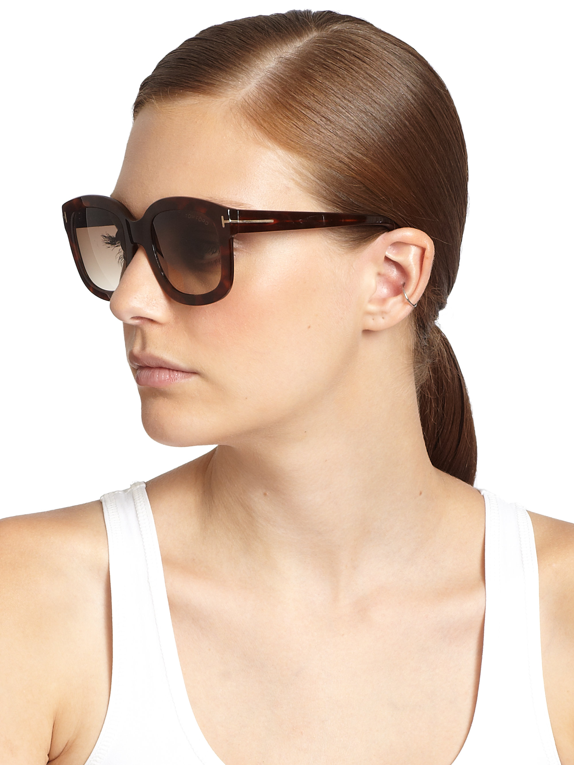 fb977c9ccfd Tom Ford Christophe Plasic Square Sunglasses in Brown - Lyst