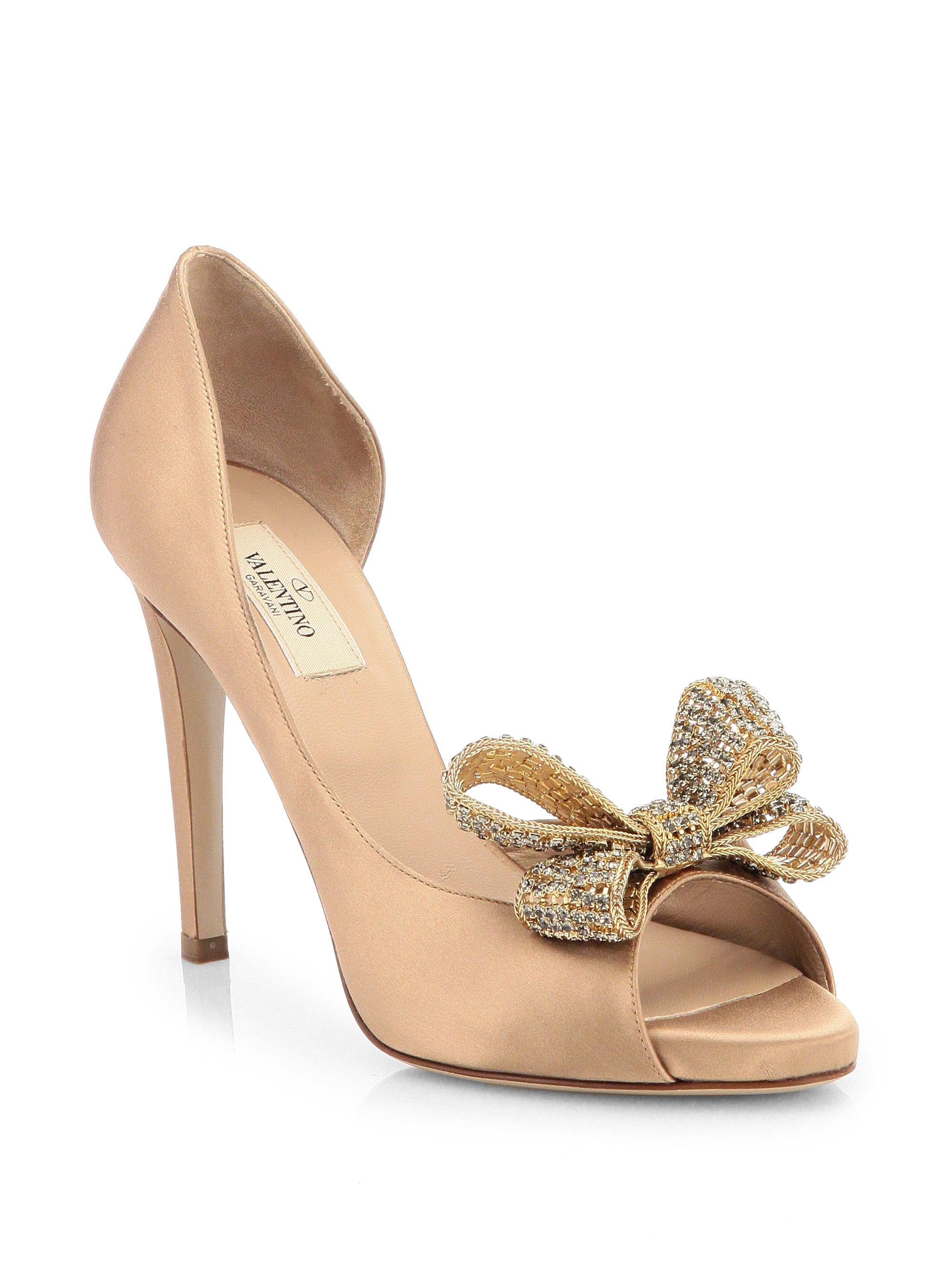 7ff8965fc54 Lyst - Valentino Satin Dorsay Evening Pump with Crystal Bowtie in ...