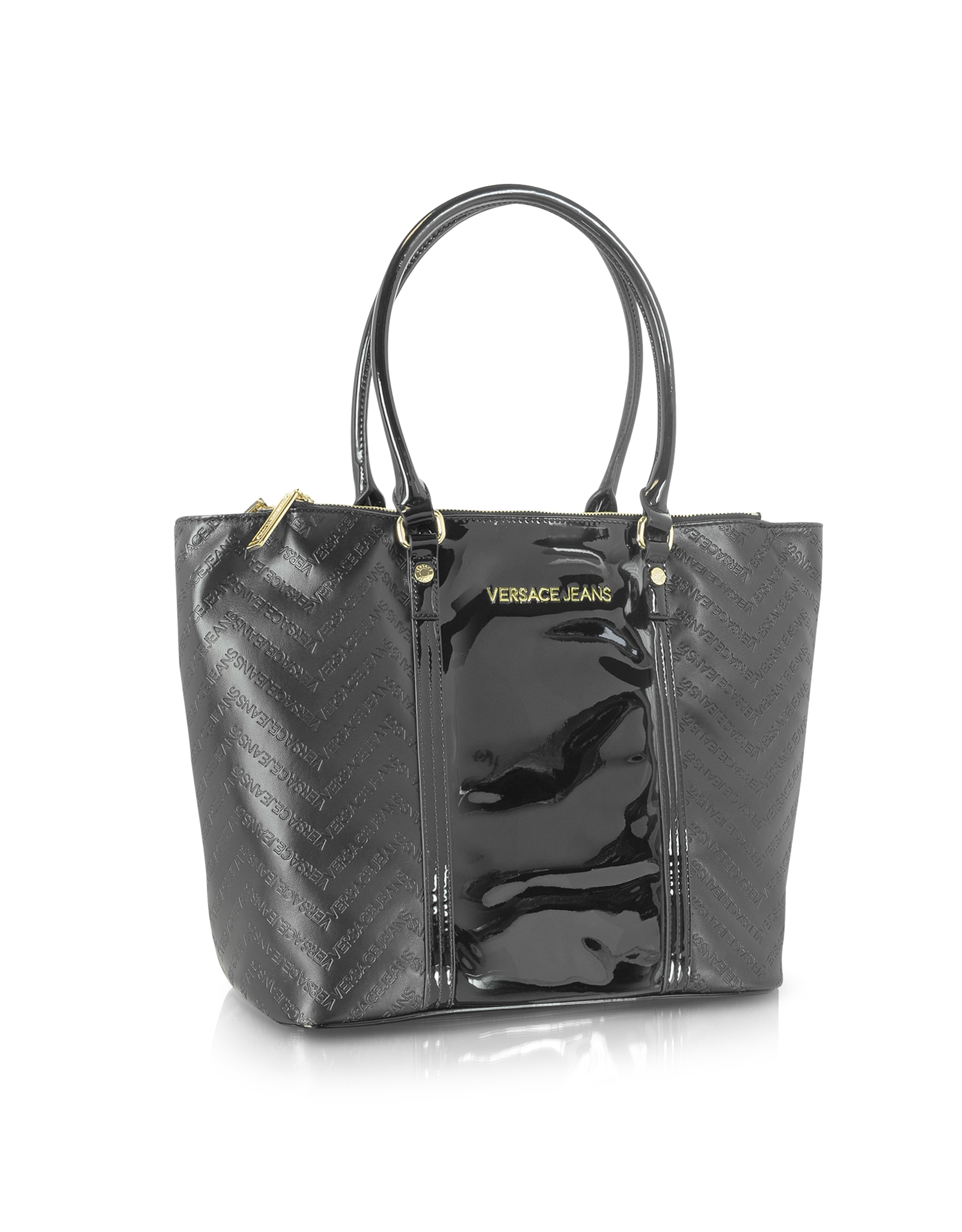 Lyst - Versace Jeans Black Signature Eco Patent Leather Tote in Black 3b33c120746d5