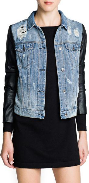 Mango Faux Leather Sleeve Denim Jacket in Black (Dark Denim) | Lyst