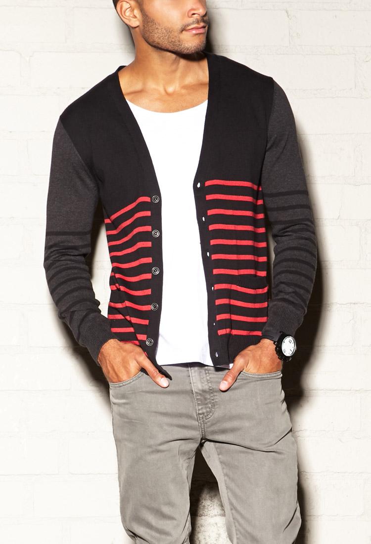 Forever 21 Favorite Striped Cardigan in Black for Men | Lyst
