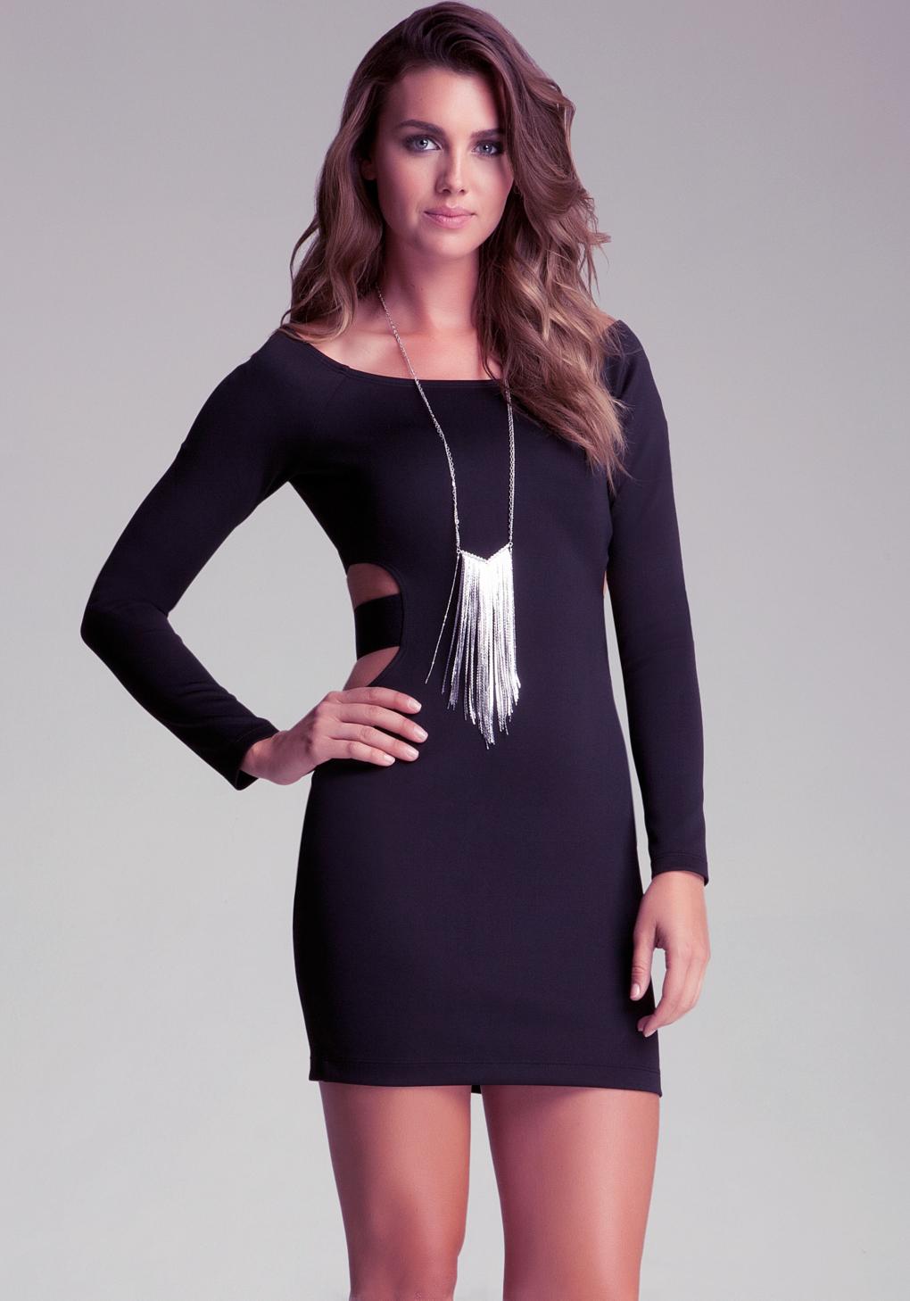 Bebe Cutout Strap Bodycon Dress In Black Lyst