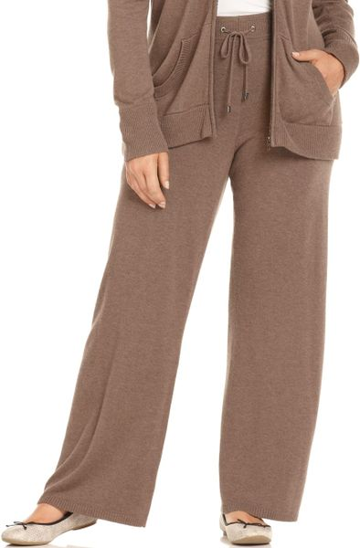 Calvin Klein Knit Drawstring Lounge in Brown (Heather Taupe) - Lyst