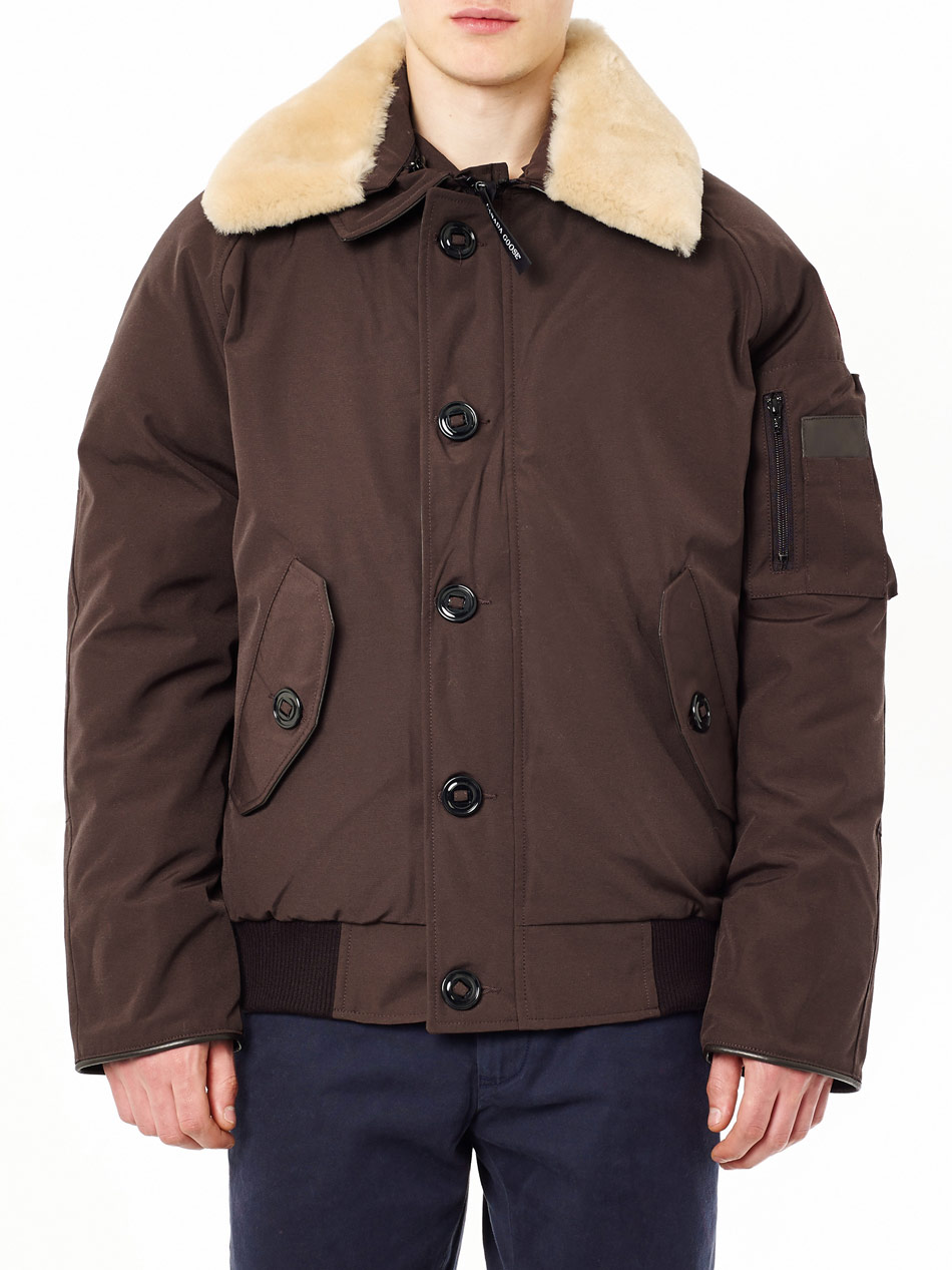 canada goose brown shearling collar foxe bomber jacket. Black Bedroom Furniture Sets. Home Design Ideas