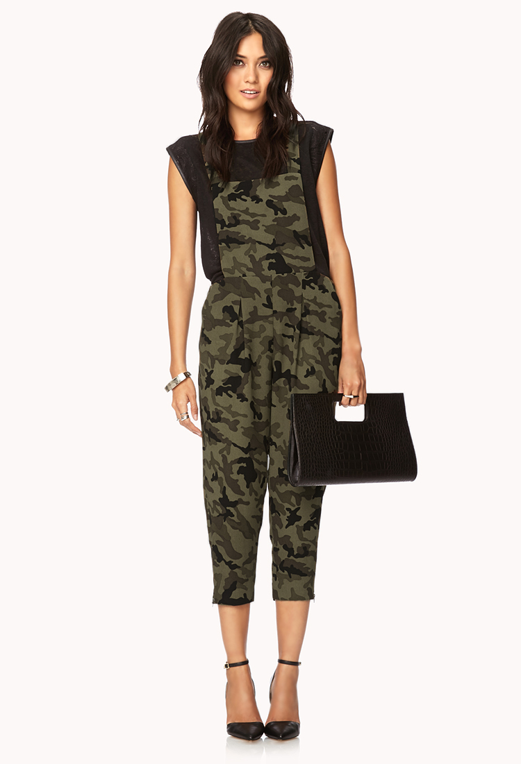 Lyst Forever 21 Contemporary Bold Camo Harem Overalls In Black