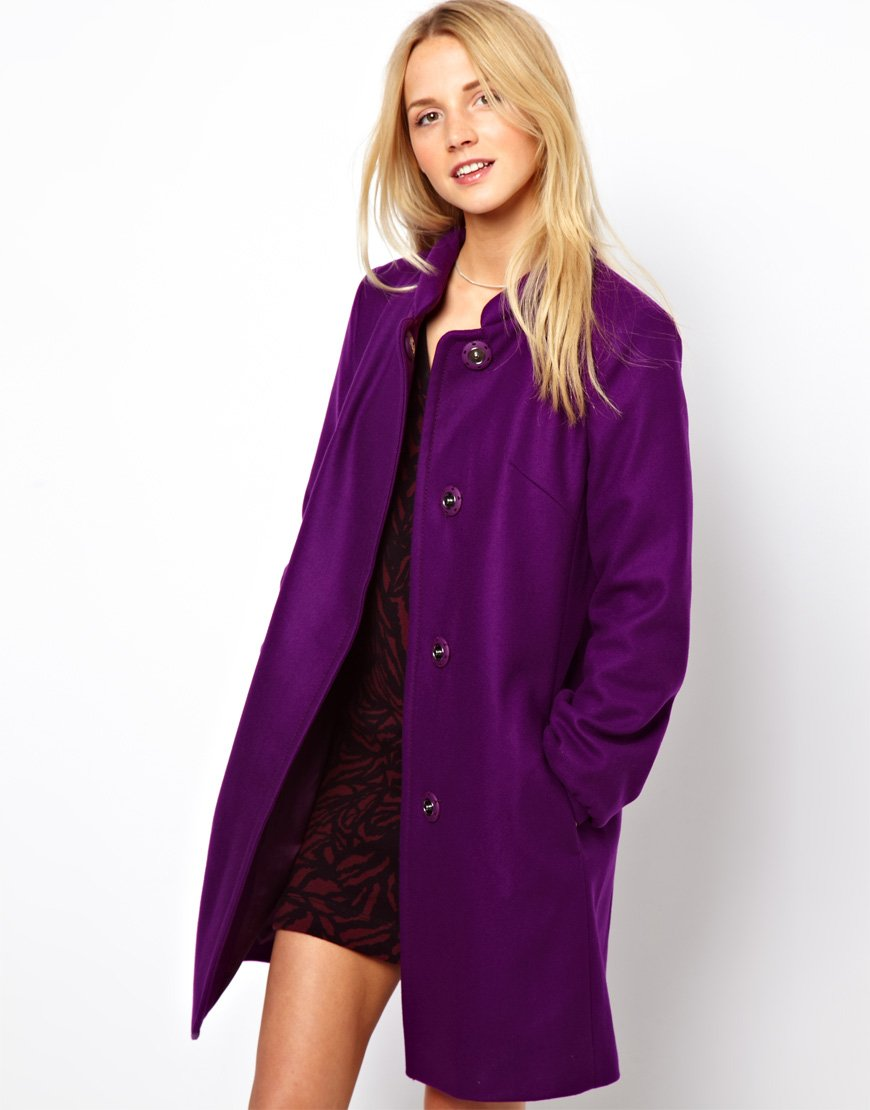 French connection Wool Coat in Purple | Lyst