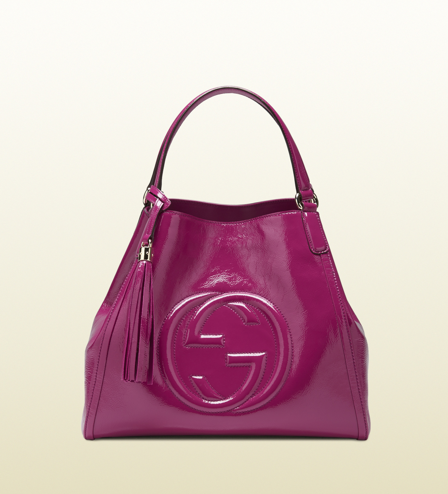 Gucci Soho Soft Patent Leather Shoulder Bag in Purple | Lyst