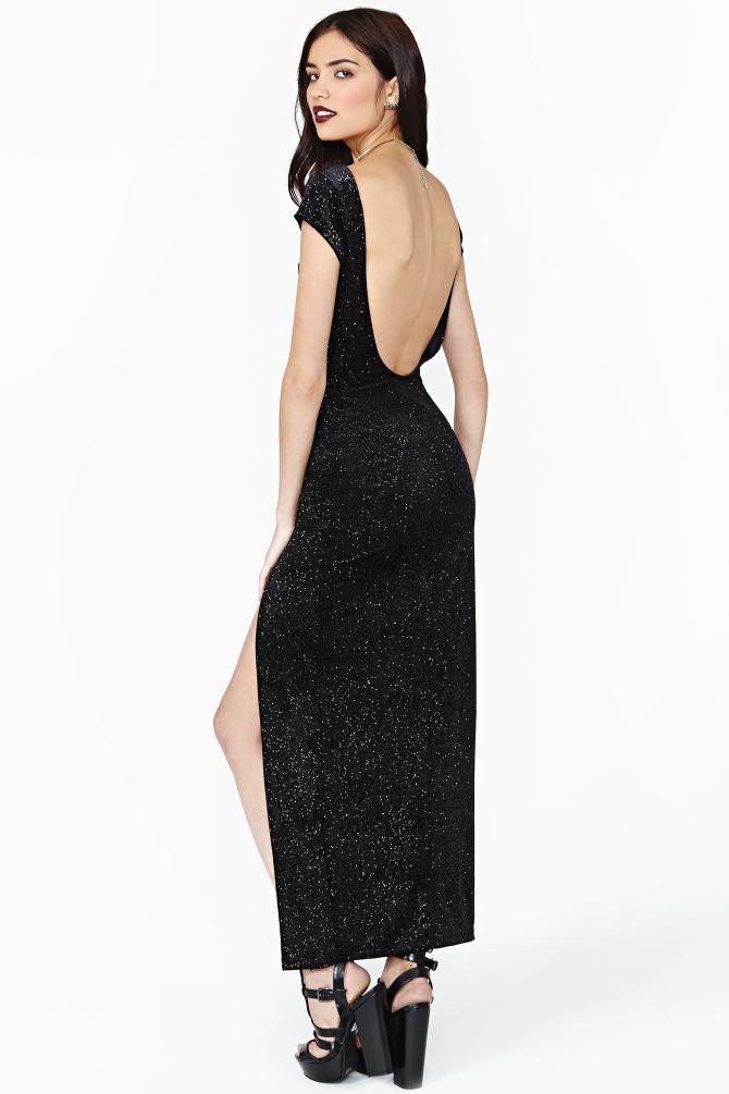 Nasty Gal Soft Star Velvet Maxi Dress In Black Lyst