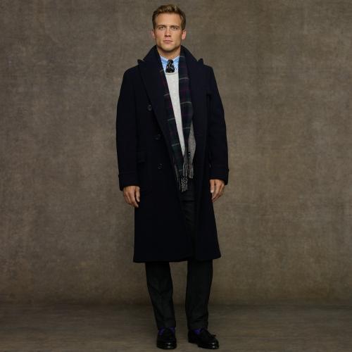 Doublebreasted Lauren Polo Wool Blue Coat Ralph For Men OkPiZXuT