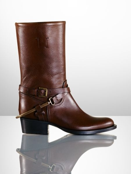 Ralph Lauren Collection Isis Stirrup Riding Boot In Brown