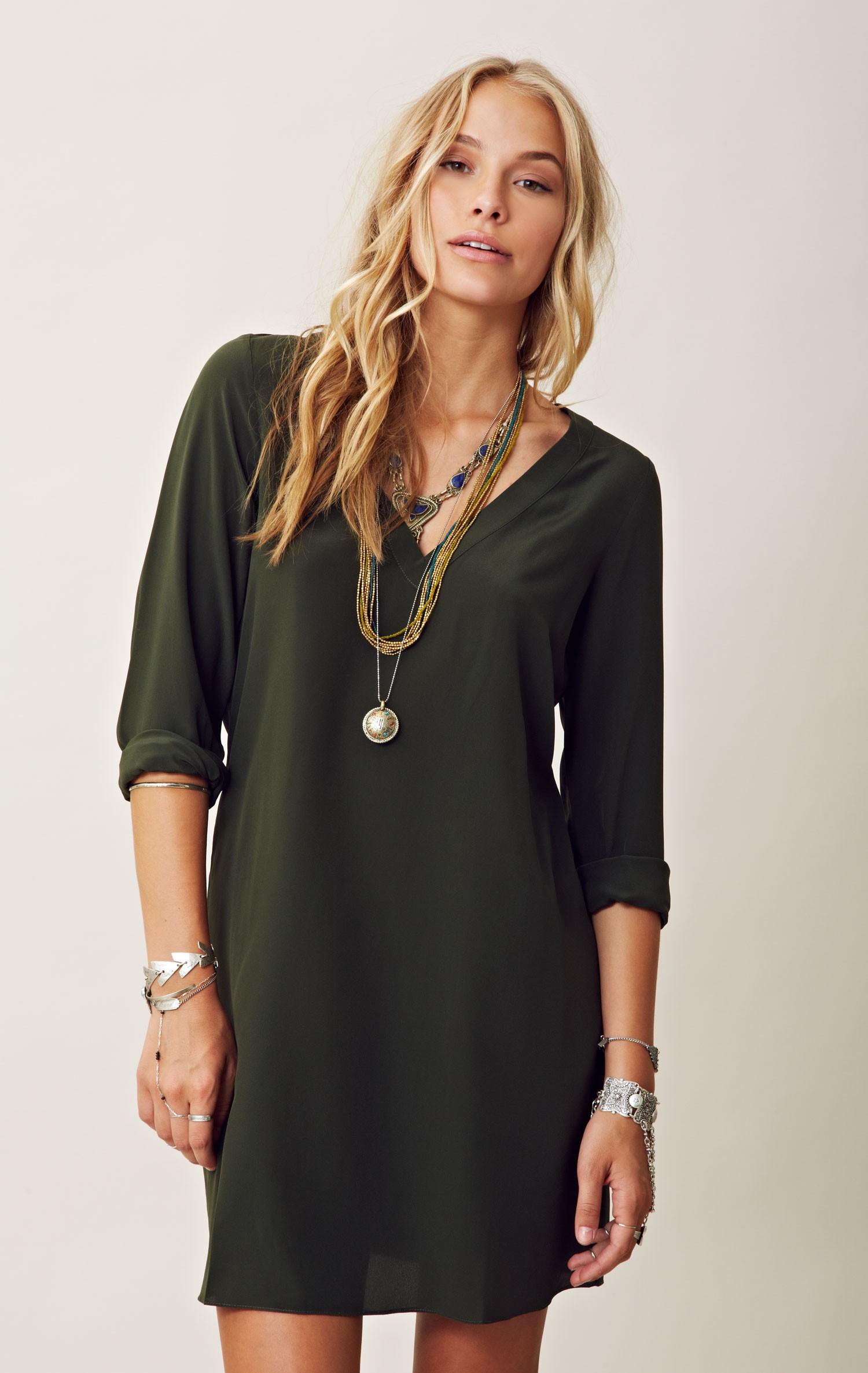 Turmec dress long sleeve silk for Long sleeve silk shirt dress