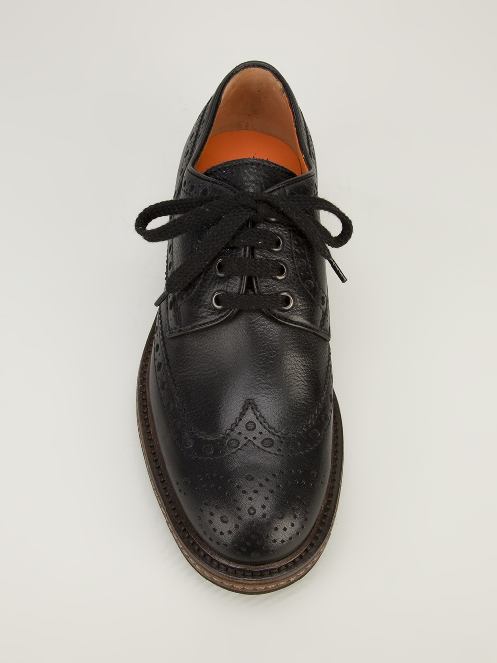 Lyst Santoni Lace Up Brogue In Black For Men