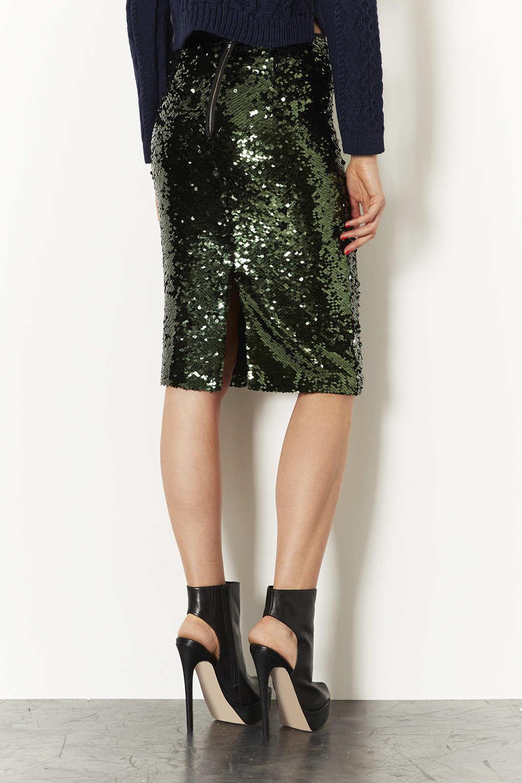 Topshop Sequin Pencil Skirt in Green | Lyst