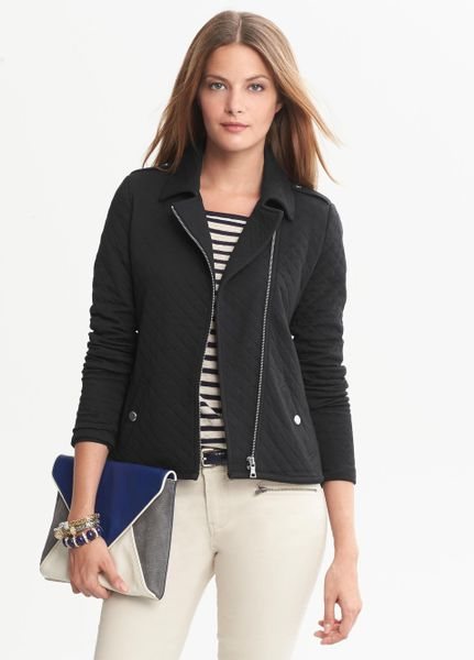 Banana Republic Quilted Knit Moto Jacket Black In Black Lyst