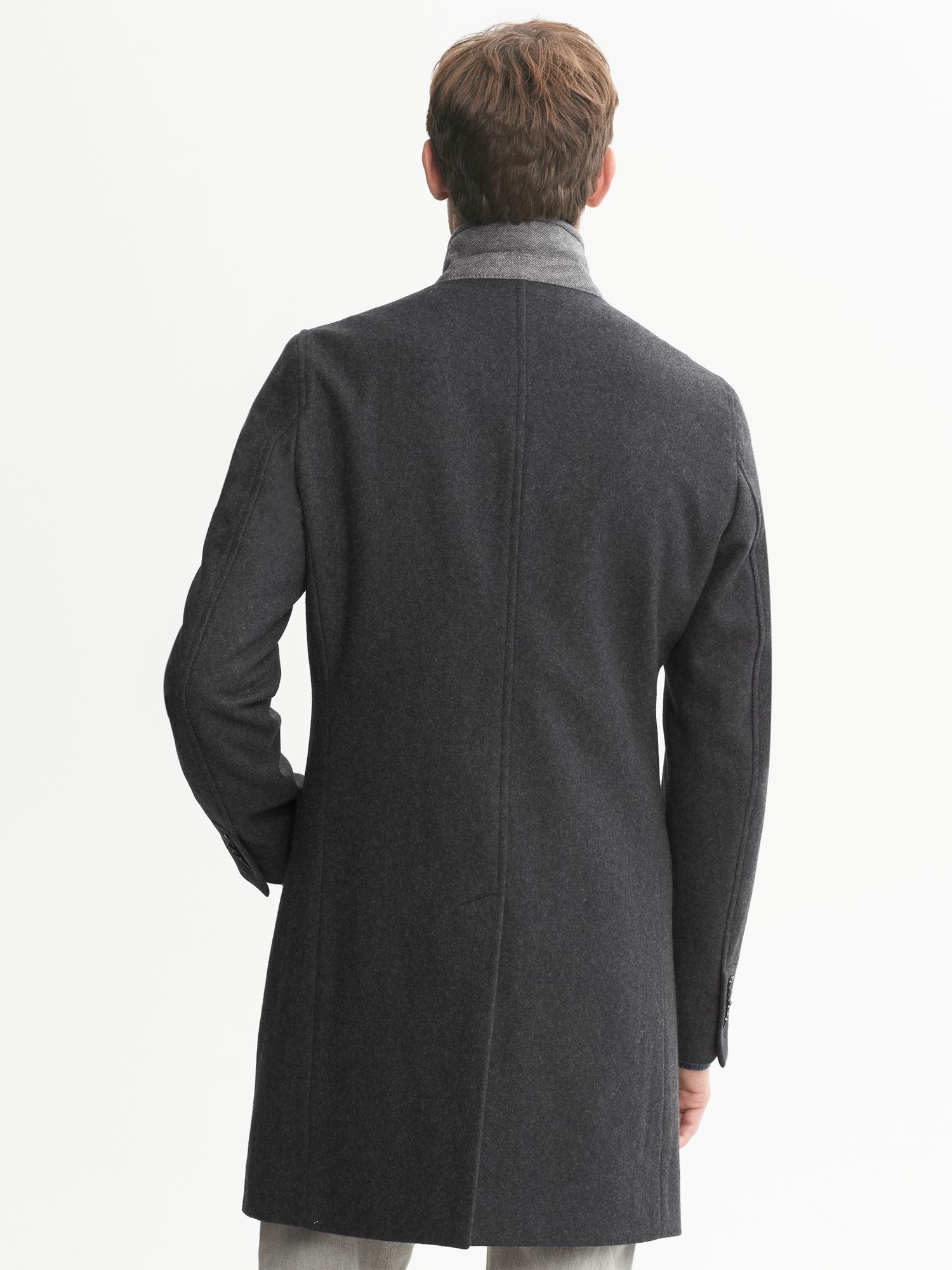 Banana Republic Wool Double Layer Coat In Charcoal Black