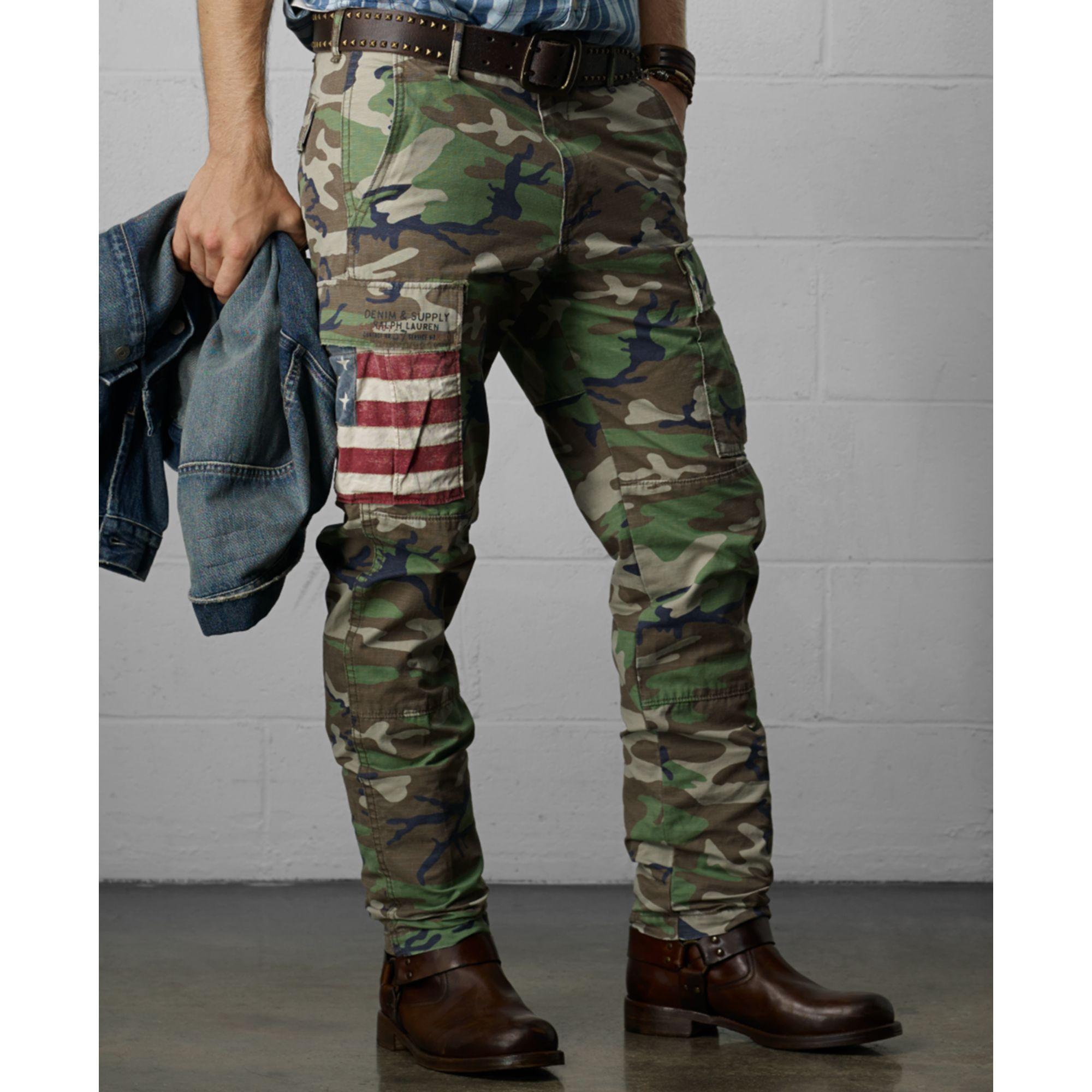 Denim Amp Supply Ralph Lauren Knox Camo Cargo Pants In Green