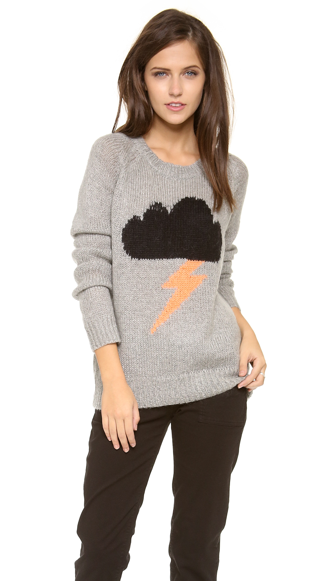 Lyst Elizabeth And James Raincloud Intarsia Sweater In Gray