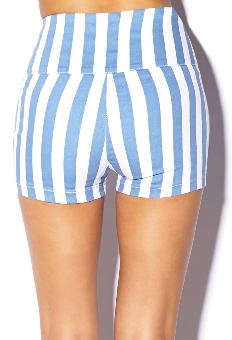 Forever 21 Dancing Queen Vertical Stripe Shorts in Blue | Lyst