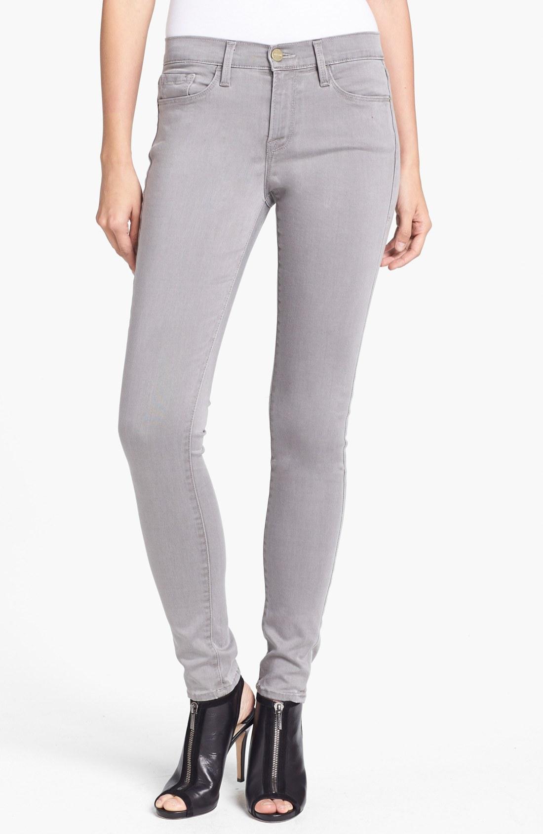 Frame Denim Le Luxe Noir Skinny Jeans In Gray Trocadero