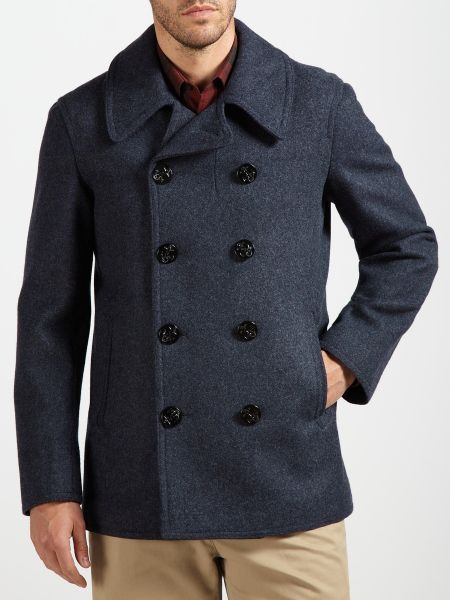 Gloverall Pure Wool Naval Reefer Coat in Blue for Men ...