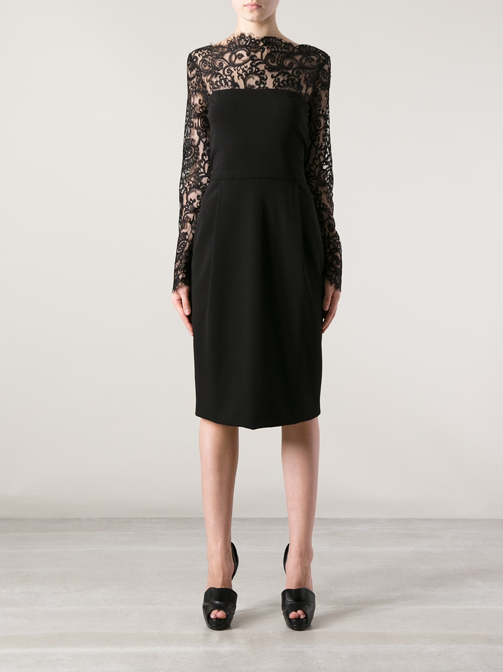 Lyst Gucci Lace Detail Jersey Dress In Black