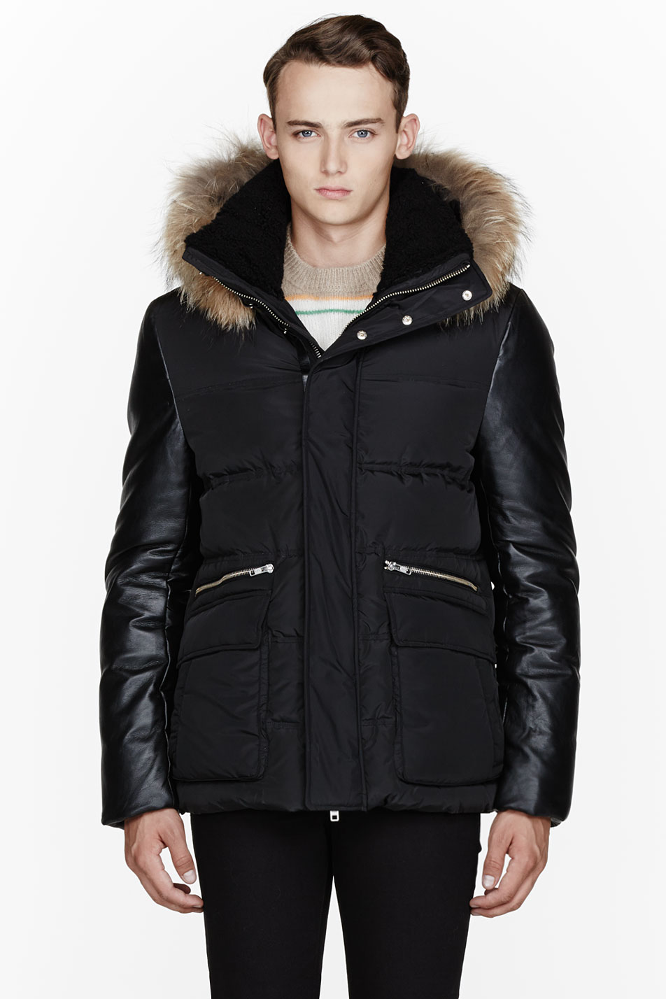 Mackage Black Leather and Fur Dennis Parka in Black for Men | Lyst