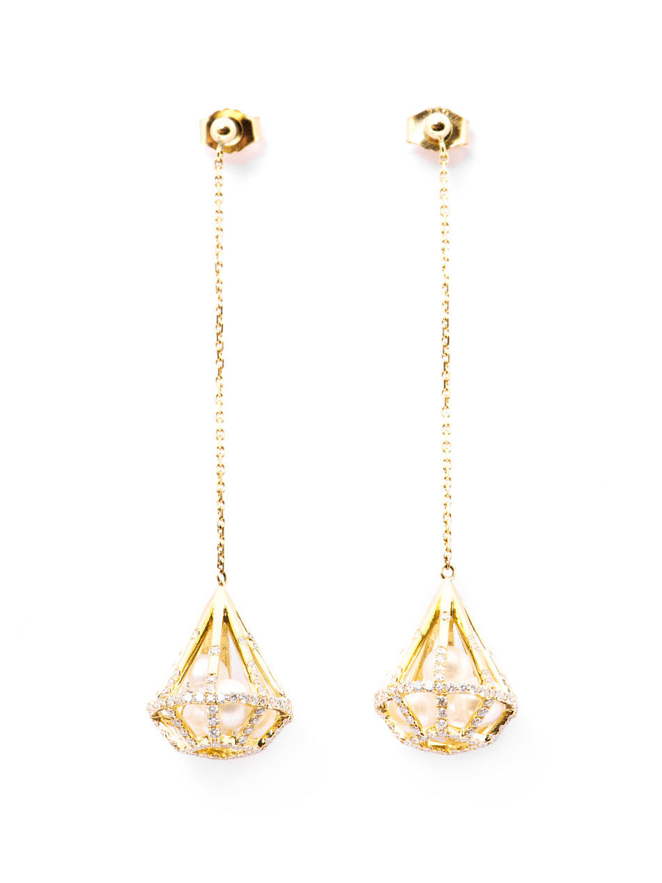 Diamond Pearl Yellow Gold Drop Earrings