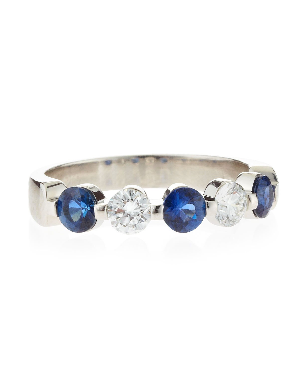Memoire platinum sapphire and diamond band in silver null for Sapphire studios jewelry reviews