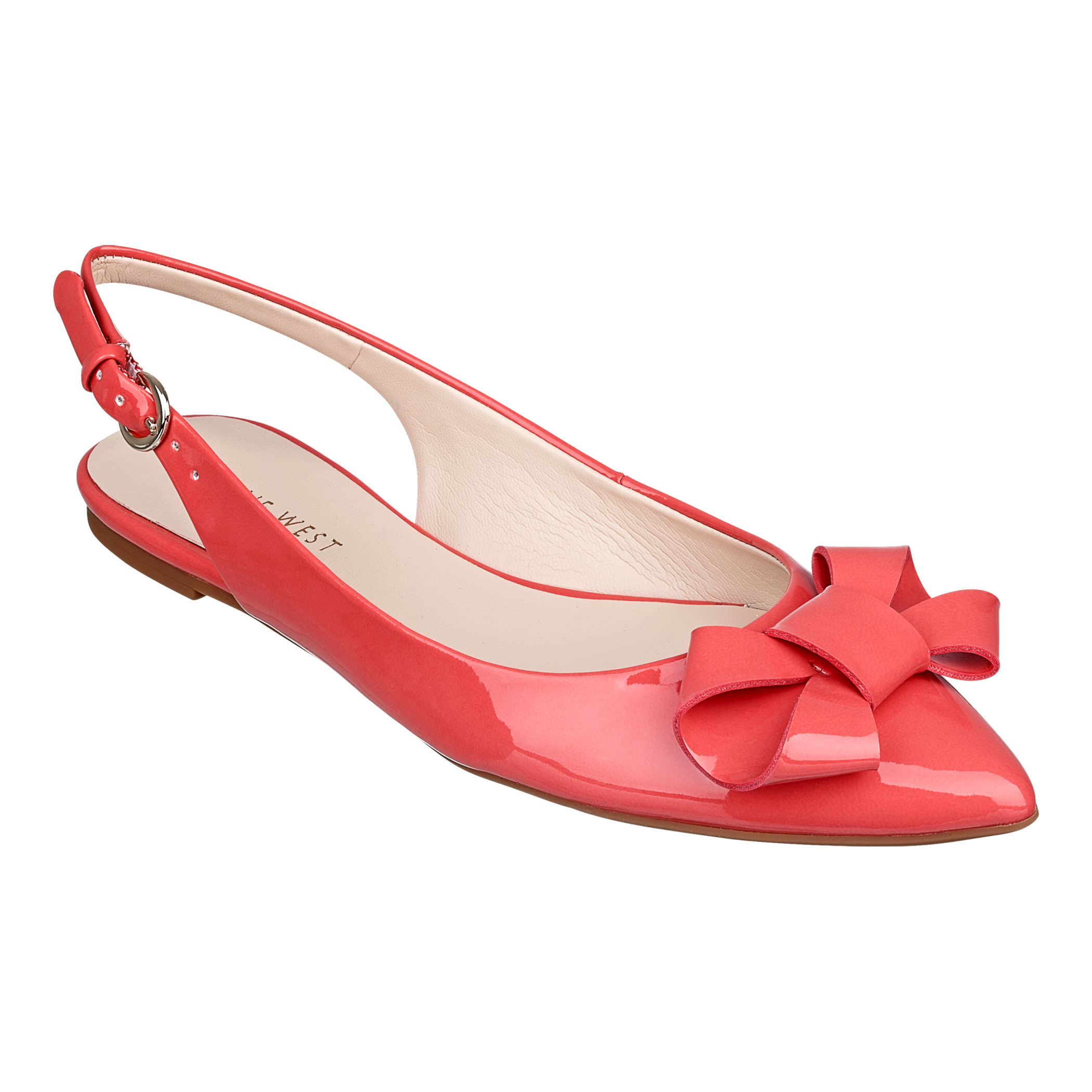 Red Slingback Shoes With Bow