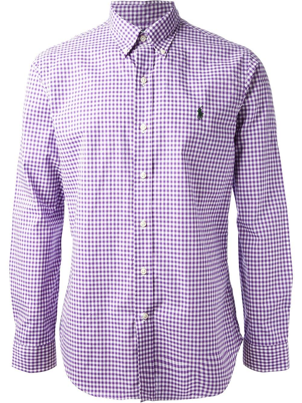 42d6da39046c Lyst - Polo Ralph Lauren Checked Shirt in Purple for Men