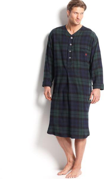 Polo ralph lauren men 39 s plaid flannel pajama nightshirt in for Black watch plaid flannel shirt