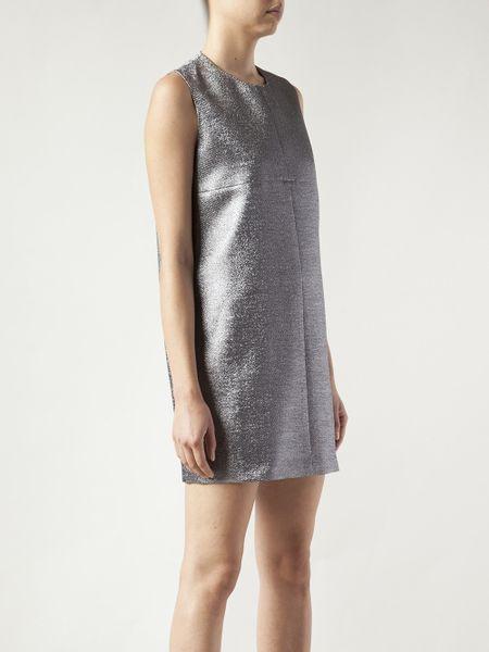 Silver Metallic Dress Neck Shift Dress in Silver