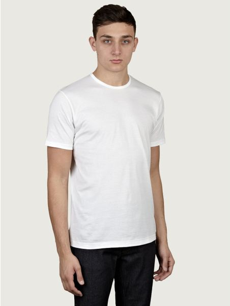 Sunspel Mens White Short Sleeve Crew Neck T-shirt in White for Men