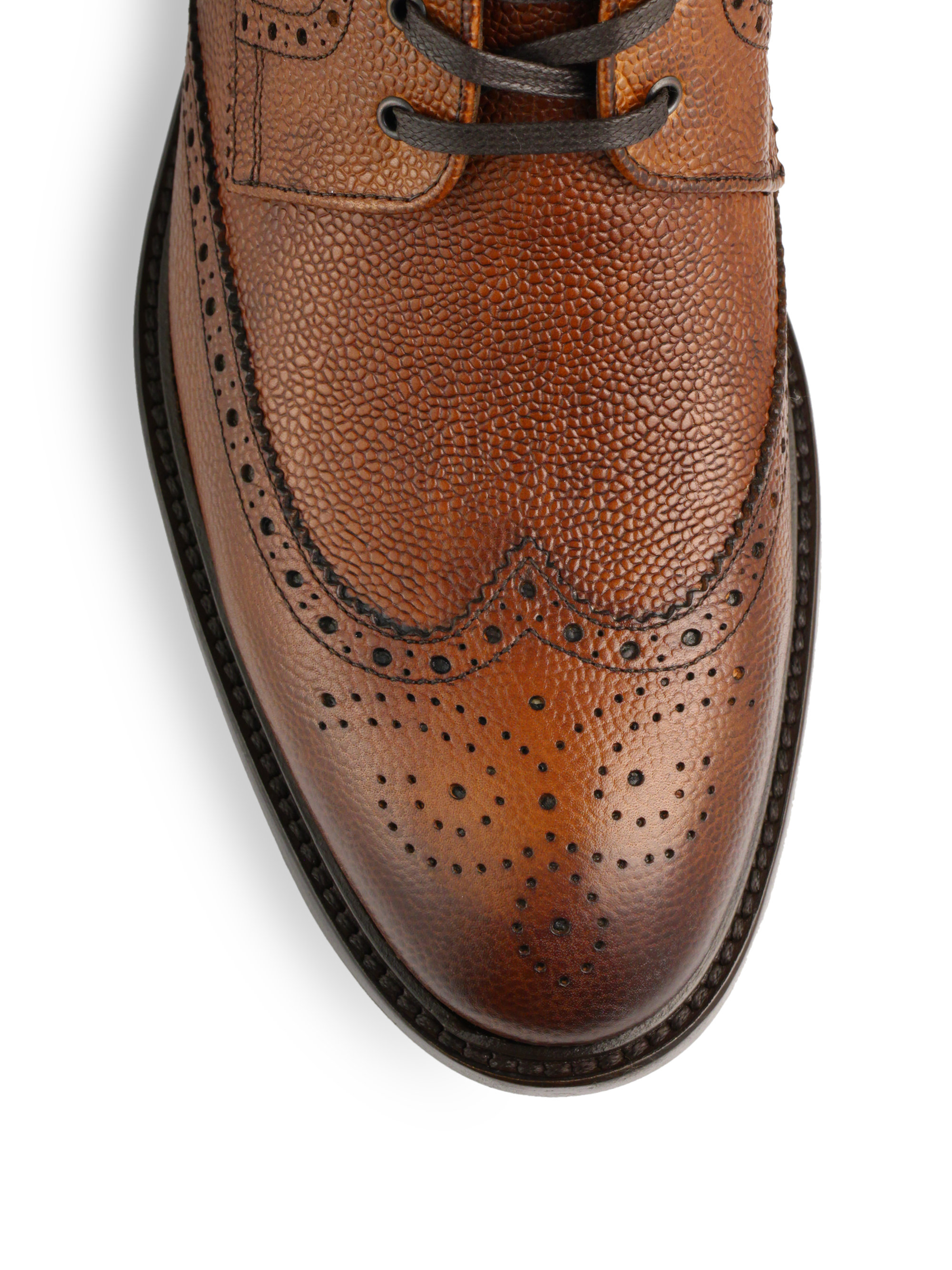 71e3100d To Boot Brown York Pebbled Leather Wingtip Ankle Boot for men