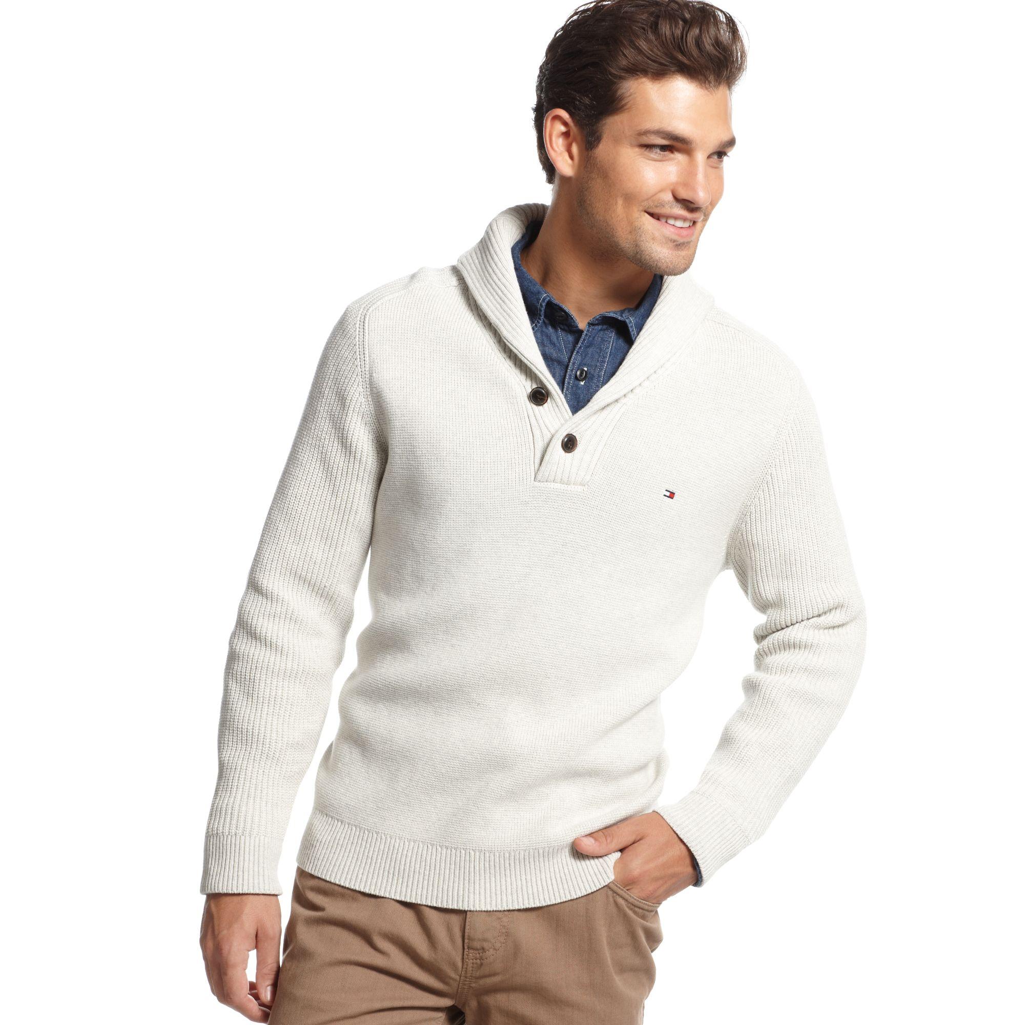 3fd027683ec5 Lyst - Tommy Hilfiger Adler Shawl Collar Sweater in White for Men