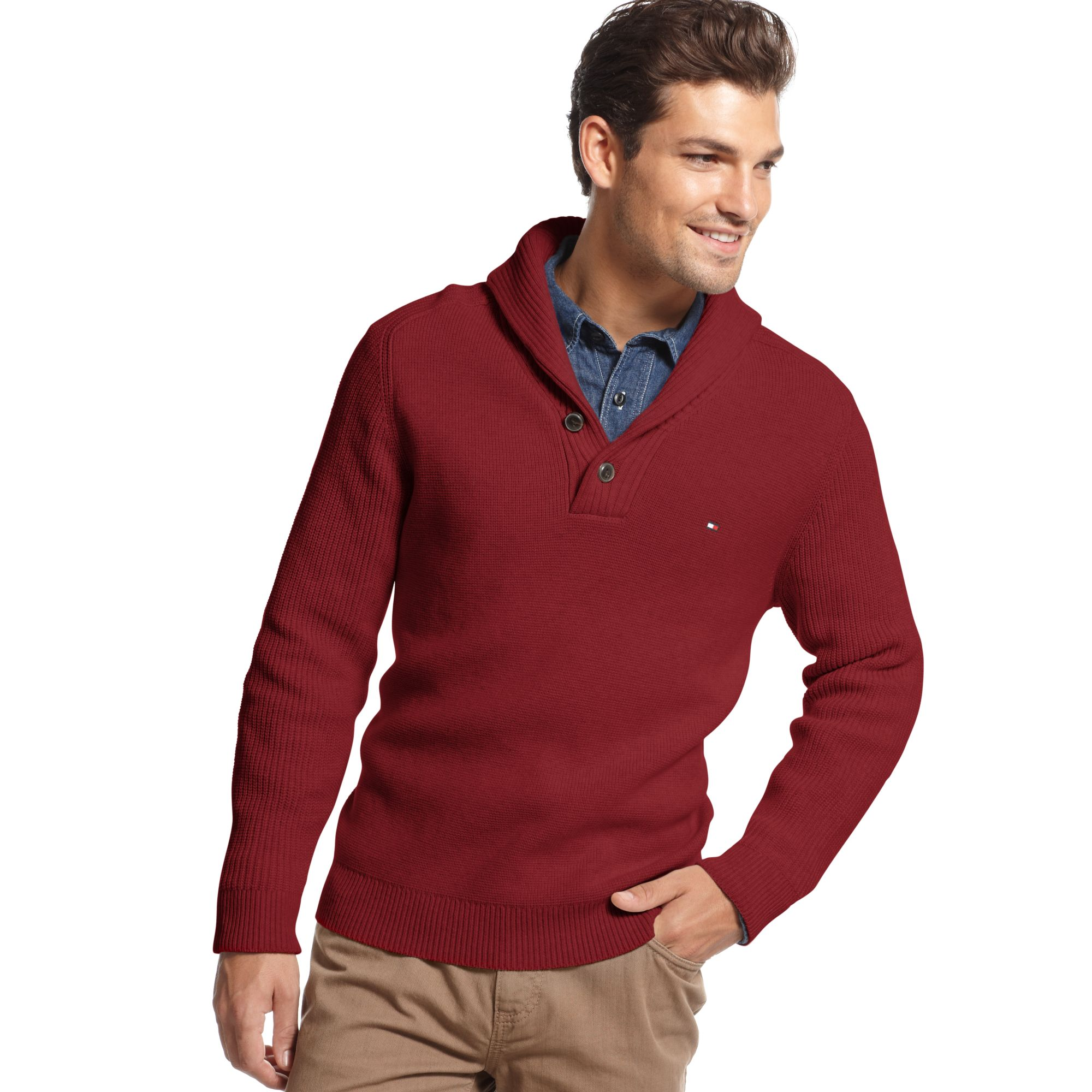 tommy hilfiger adler shawl collar sweater in red for men. Black Bedroom Furniture Sets. Home Design Ideas