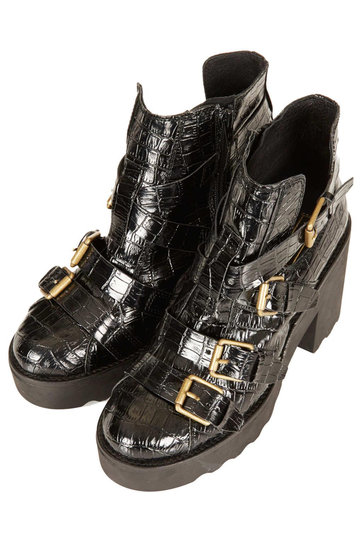 Lyst Topshop Argo Croc Heavy Boots In Black