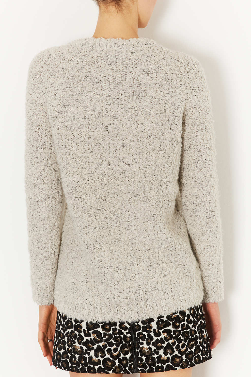4f1079cb769 TOPSHOP Knitted Chunky Boucle Jumper in Gray - Lyst